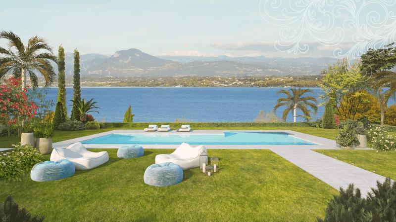 Render giardino con piscina